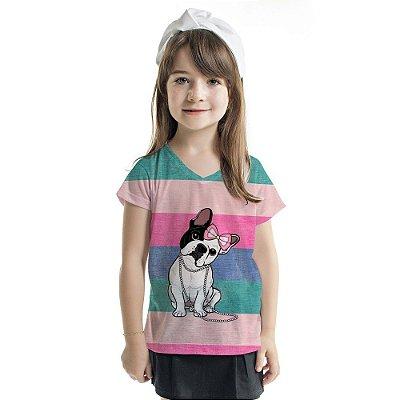 Blusa Florata Infantil Dog Lacinho
