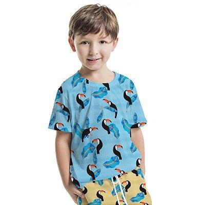Camiseta Básica Infantil Azul Tucaninhos