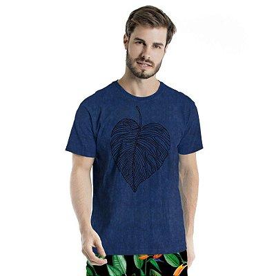 Camiseta de Algodão Estonada Folha de Coração