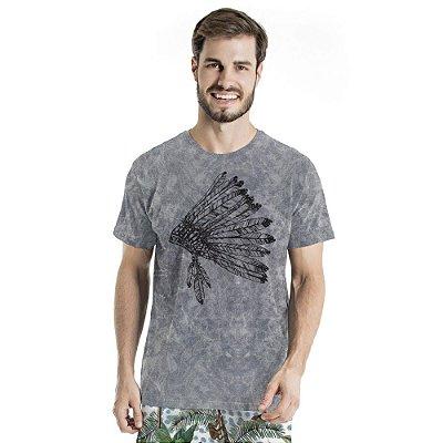 Camiseta de Algodão Estonada Mescla Cocar