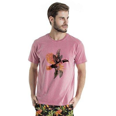 Camiseta de Algodão Estonada Rosa Tucano