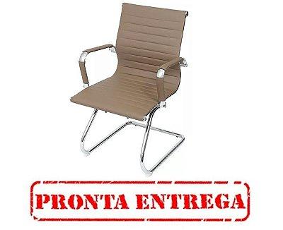 PRONTA ENTREGA - Cadeira Escritorio Fratini Office Rodizio Manhattan Eames Fendi Cromado Fixa Diretor Com Braços