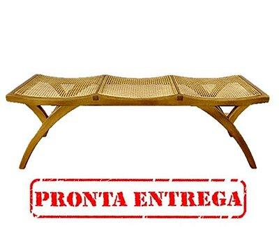 PRONTA ENTREGA / Banco Triplo Trendhouse 3 lugares Madeira Natural Carvalho Cor Castanho Claro Assento Palha Arpoador