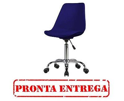 PRONTA ENTREGA - Cadeira Design Fratini Saarinen Office Eames Eiffel Rodizio Azul Marinho Quartos Chicago