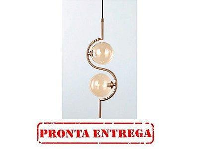 PRONTA ENTREGA - PENDENTE QUALITY NEWLINE PD1347 VIDRO METAL Redondo Moderno Bola Esfera Vertical 17 x 12 x A49,5 CM 2XG9
