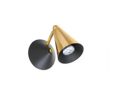 Arandela Old Artisan Cone Articulada Metal Dourado 19x20cm 1x GU10 Dicróica 110 220v Bivolt AR-5149 Mesa Jantar e Sala Estar