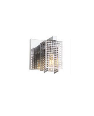 Arandela Grade Aramada Quadrada Metal Cromado 13,5x12cm Old Artisan 1x G9 Halopin Bivolt AR-5129 Salas e Hall