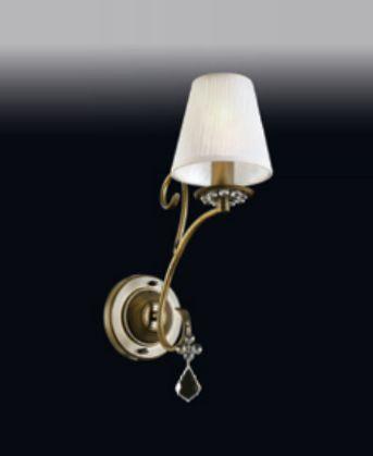 Arandela Old Artisan Metal Curvas Bronze Cristal Cupula Tecido 33x12cm 1x E27 110 220v Bivolt AR-4938 Entradas e Sala Estar
