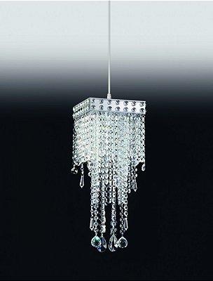 Lustre Old Artisan Cristal K9 Metal Cromo Pêndulo 45x11cm 1x G9 Halopin 110 220v Bivolt PD-4605 Sala Estar e Hall