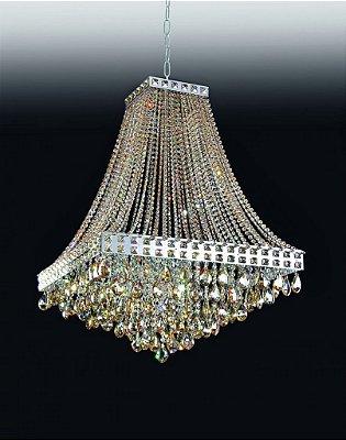 Lustre Old Artisan Imperial Pêndulo Cristal K9 74x40cm 12x G9 Halopin 110 220v Bivolt PD4690-12 Hall e Sala Estar