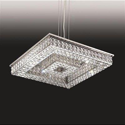 Pendente Old Artisan Cristal K9 Quadrado Metal 7,5x90cm 32x G9 Halopin 110 220v Bivolt PD4813-32 Sala Estar e Quartos