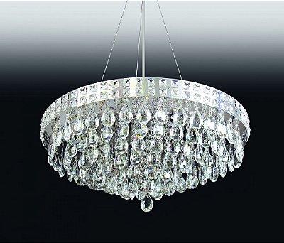 Pendente Old Artisan Cristal K9 Redondo Esfera Transparente 25x66cm 12x G9 Halopin 110 220v Bivolt PD4694-12 Sala Estar e Quartos