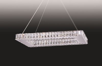 Pendente Old Artisan Cristal K9 Transparente Retangular 30x65cm 12x G9 Halopin 110 220v Bivolt PD4933-12 Sala Estar e Saguão