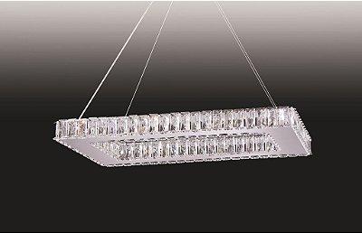 Pendente Old Artisan Cristal K9 Transparente Retangular 36x80cm 14x G9 Halopin 110 220v Bivolt PD4933-14 Sala Estar e Saguão
