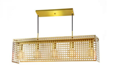 Pendente Old Artisan Grade Horizontal Aramados Metal Dourado 22x16cm 5x E27 110 220v Bivolt PD-5137 Mesa Jantar e Escadas