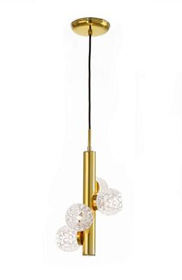 Pendente Old Artisan Metal Dourado Cristal K9 Pendurado 38x24cm 4x G9 Halopin 110 220v Bivolt PD-5176 Sala Estar e Mesa Jantar
