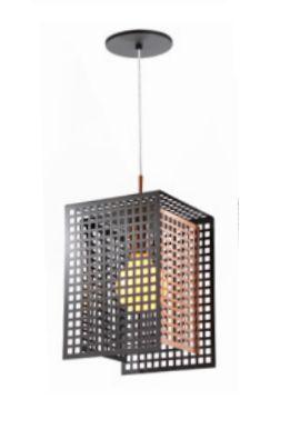 Pendente Old Artisan Contemporâneo Aramados Quadrado Metal Cobre 31x16cm 1x E27 110 220v Bivolt PD-5135 Hall e Cozinhas