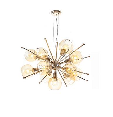 Pendente Old Artisan Contemporâneo Cupula Vidro Metal Dourado 41x92cm 13x E27 110 220v Bivolt PD5224-B Hall e Sala Estar