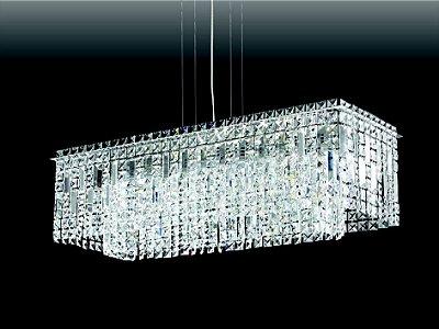 Pendente Old Artisan Retangular Cristal K9 Metal 26,5x77cm 12x G9 Halopin 110 220v Bivolt PD-4593 Sala Estar e Mesa Jantar