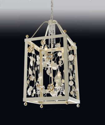 Pendente Old Artisan Rosas Retangular Metal Dourado Cristal 56x26cm 4x E27 110 220v Bivolt PD4937-P Hall e Sala Estar