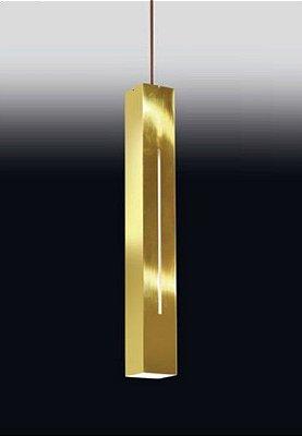 Pendente Old Artisan Tubo Canal Retangular Metal Dourado 59x7,6cm 1x PAR20 110 220v Bivolt PD-4976 Escadas e Cozinhas