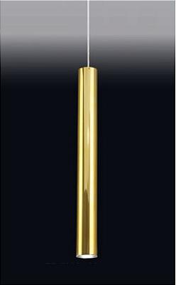 Pendente Old Artisan Tubo Redondo Esfera Pendurado Metal Dourado 59x7,6cm 1x PAR20 110 220v Bivolt PD-5004 Hall e Cozinhas