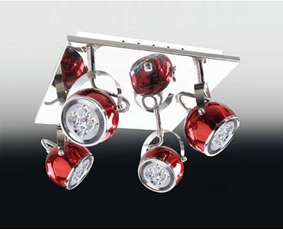 Plafon Old Artisan 4 Foco Luz Base Quadrada Metal Vermelho 19x37cm 4x GU10 Dicróica PLF-4428 Sala Estar e Quartos