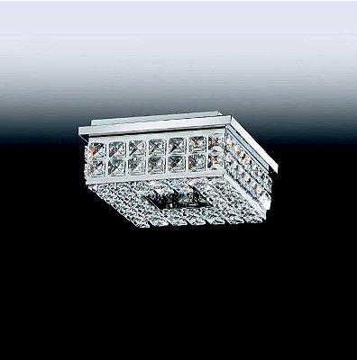 Plafon Old Artisan Aro Quadrado Cristal K9 Metal 7,5x20cm 4x G9 Halopin 110 220v Bivolt PLF-4805 Entradas e Sala Estar