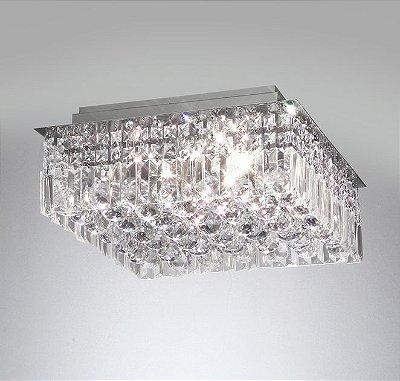 Plafon Old Artisan Cristal K9 Quadrado Sobrepor 16x48cm 10x G9 Halopin 110 220v Bivolt PLF-4259 Hall e Quartos