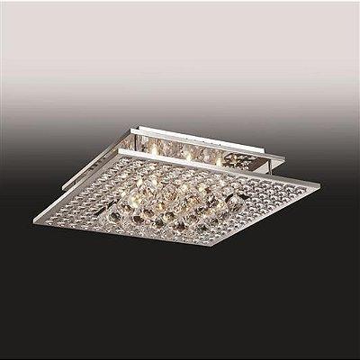 Plafon Old Artisan Cristal K9 Sobrepor Quadrado 12x69cm 16x G9 Halopin 110 220v Bivolt PLF4778-16 Entradas e Sala Estar