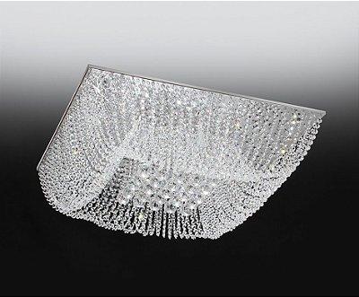 Plafon Old Artisan Cristal Sobrepor Quadrado Transparente 16x35cm 6x G9 Halopin 110 220v Bivolt PLF4533-6 Sala Estar e Quartos