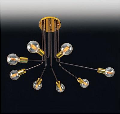 Plafon Old Artisan Hastes Curvas Contemporâneo Metal Dourado 50x65cm 8x E14 110 220v Bivolt PLF5100-A Entradas e Sala Estar