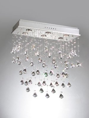 Plafon Old Artisan Retangular Metal Cromo Cristal K9 60x25cm 6x GU10 Dicróica 110 220v Bivolt PLF4296-6 Sala Estar e Saguão