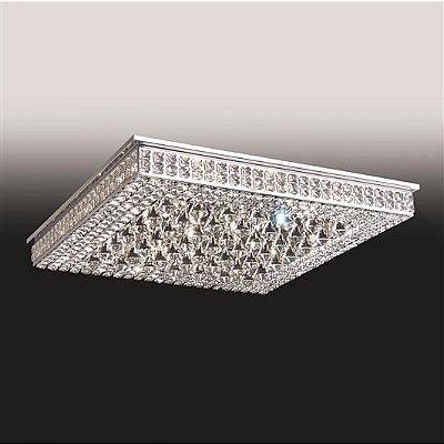 Plafon Old Artisan Sobrepor Quadrado Cristal K9 8,5x40cm 12x G9 Halopin 110 220v Bivolt PLF4815-12 Sala Estar e Hall