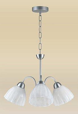 Lustre Madelustre 2078/3AE Vesuvio Estilo Antigo Cupula Vidro Tulipa 3 Lamp. 1m Sala de Jantar Quarto e Cozinha