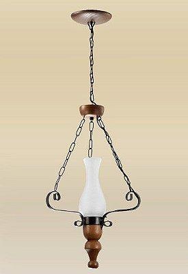 Lustre Madelustre 2094 Roma Madeira Natural Rustica Estilo Antigo 1 Lamp. 35cmx1m Sala de Jantar Quarto e Cozinha