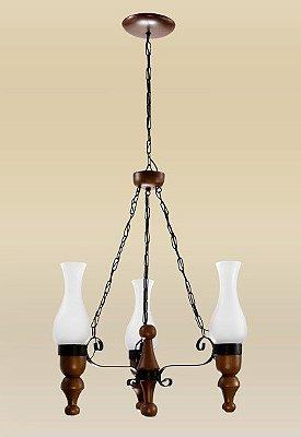 Lustre Madelustre 2095/3 Roma Madeira Natural Rustica Estilo Antigo 3 Lamp. 50cmx1m Sala de Jantar Quarto e Cozinha