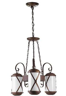 Lustre Madelustre 2463/3 Império Madeira Natural Rustica Estilo Antigo Metal de Fundição 3 Lamp. Sala de Jantar Quarto e Cozinha