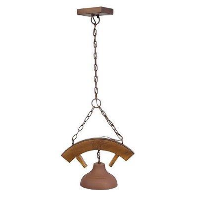 Lustre Madelustre 421 Estância Rustico Madeira Natural envelecido 1 Lamp. 1m Sala de Jantar Quarto e Cozinha
