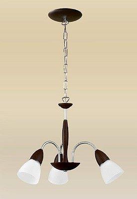 Lustre Madelustre Rústico Madeira Natural Maciça Tabaco Cúpula Vidro Fosco Tulipa 3 Lamp. Ø50x1m Lumi E-27 1614   Sala de Jantar Quarto e Cozinha