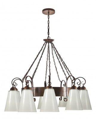 Lustre Madelustre Rústico Madeira Natural Metal Envelhecido Cúpula Vidro 10 Lamp. Ø98x2,30 Florença E-27 2234-10   Sala de Jantar Quarto e Cozinha