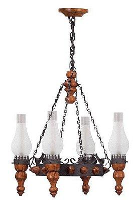 Lustre Madelustre Rústico Estilo Antigo Madeira Natural Esculpida Metal Envelhecido 4 Lamp. Ø58x92 Medieval E-27 60015   Sala de Jantar Quarto e Cozinha