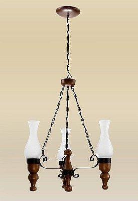 Lustre Madelustre Rústico Estilo Antigo Madeira Natural Maciça Esculpida Cúpula Vidro 3 Lamp. Ø50x1m Medieval E-27 2095-3   Sala de Jantar Quarto e Cozinha