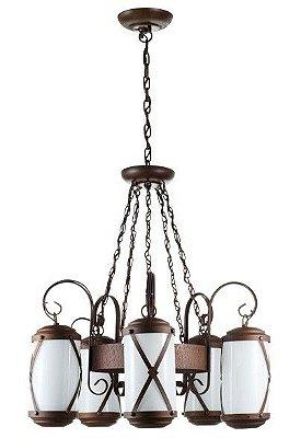Lustre Madelustre Rústico Estilo Antigo Metal Envelhecido envelecido 5 Lamp. Ø60x1m Império E-27 2463.5   Sala de Jantar Quarto e Cozinha