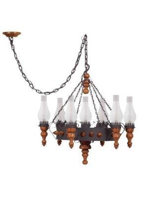 Lustre Madelustre Estilo Antigo Madeira Natural Metal Envelhecido Rústico 7 Lamp. Ø80x2,30 Medieval E-27 60014   Sala de Jantar Quarto e Cozinha