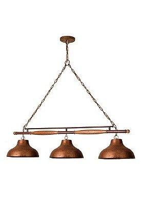Lustre Pendente Triplo Trilho billiar 418 Madelustre Estância Rustico Madeira Natural envelecido 3 lamp Sala de Jantar Quarto e Cozinha
