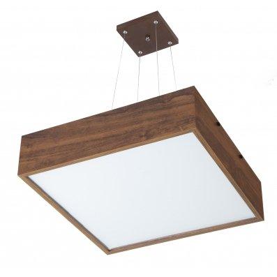Pendente 2638 MadeLustre Adhara Madeira Natural Lustre Quadrado Cristal 42 x 42 cm 4 Lamp. Sala de Jantar Quarto e Cozinha