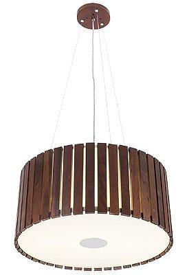 Pendente MadeLustre 2556 Castor Madeira Natural Lustre Rustico Redondo Ø 54cm 4 Lamp. Sala de Jantar Quarto e Cozinha