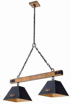 Pendente MadeLustre 2854PD TRILHO Madeira Natural Metal Rustico Estilo Antigo ALP 2 Lamp.S Sala de Jantar Quarto e Cozinha