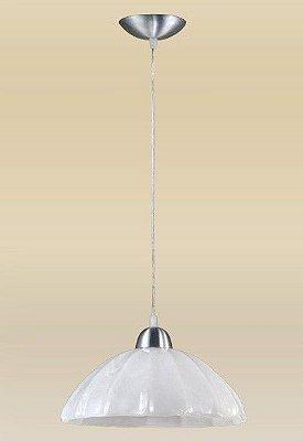 Pendente Madelustre Alumínio Escovado Cúpula Vidro Alabastro Branco Ø30cm Vesuvio E-27 2070   Sala de Jantar Quarto e Cozinha